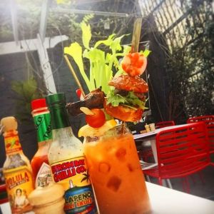 The Bloody Hell - Chilli Infused Vodka Served with a Shrimp, Slider & Buffalo Wing @ Bloody Mary's, Sydney