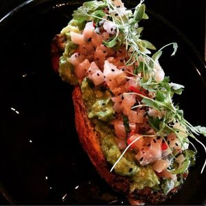 Kingfish Sashimi and Smashed Avo on freshly baked seeded bread...